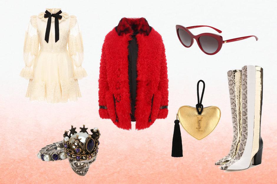 Шуба, Tom Ford; платье, Zimmermann; ботфорты, Sergio Rossi; клатч, Saint Laurent; кольцо Alexander McQueen; очки, Dolce&Gabbana