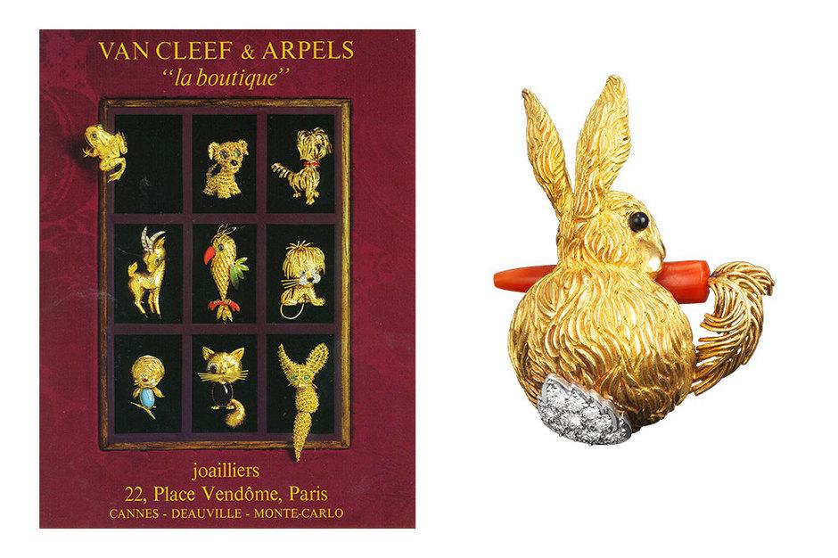 Обложка каталога La Boutique Дома Van Cleef & Arpels, 1966 г., Брошь Rabbit, 1968 г.