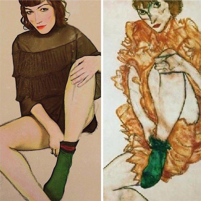 Ольга Шлёмер вобразе женщины взелёном чулке скартины Эгона Шиле
