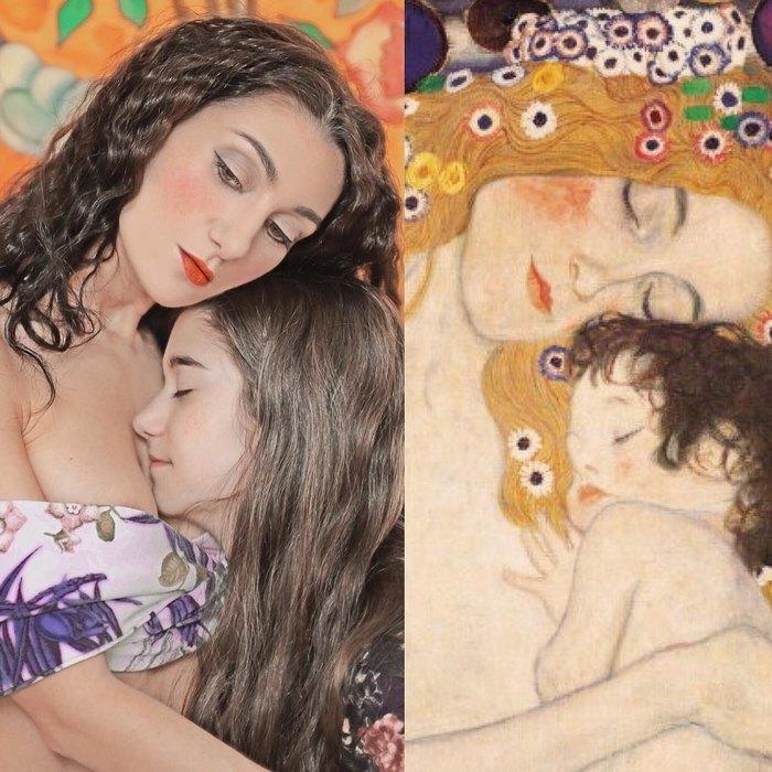 Лилия Корнели сдочерью ифрагмент картины Густава Климта «Три возраста женщины»