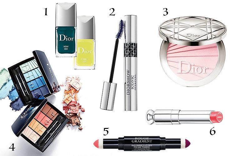 1. Лак дляногтей Dior Vernis (№800 Now; №505, Early); 2. Тушь дляресниц Diorshow Iconic Overcurl; 3. Подсвечивающая пудра Dior Diorskin Nude Air Colour Gradation (№002, Radiant Nude); 4. Палетка теней длявек Dior Colour Gradation Palette (№001, Blue Gradation; № 002, Coral Gradation); 5. Двусторонняя пудровая губная помада Dior Rouge Gradient (№975, Magenta); 6. Губная помада Dior Addict Gradient Lipstick (№760, Fuchsia Twist)