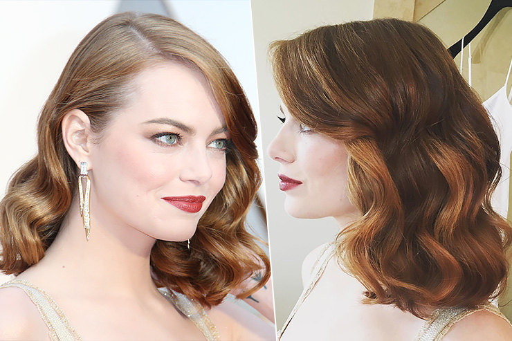 Для укладки Эммы Стоун были использованы средства: L'Oréal Paris Advanced Hairstyle Boost It Inject Volume Mousse, L'Oréal Paris Boost It High Lift Creation Spray, L'Oréal Paris Elnett Satin Hairspray ифен Dyson Supersonic.