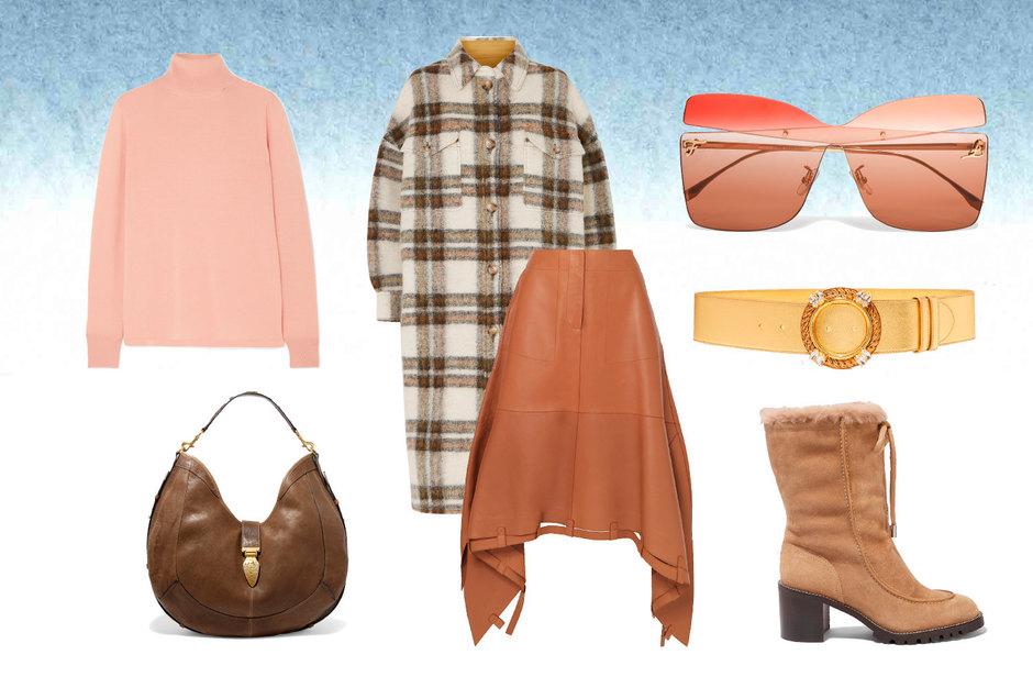 Ботинки, Jimmy Choo; пальто, Isabel Marant Etoile; водолазка, L.F.Markey; юбка, Loewe; сумка, Isabel Marant; ремень, Miu Miu; очки, Fendi