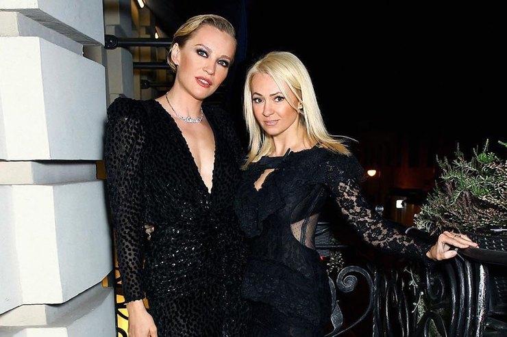 Яна Рудковская иНаталья Давыдова повеселились в«парных» платьях сдекольте