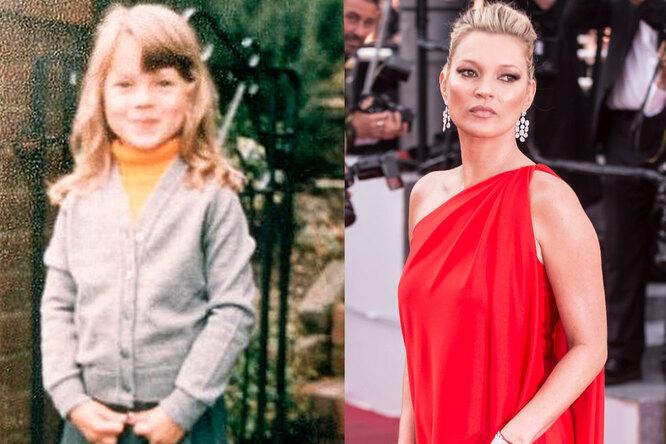 Кейт Мосс в детстве и сейчас