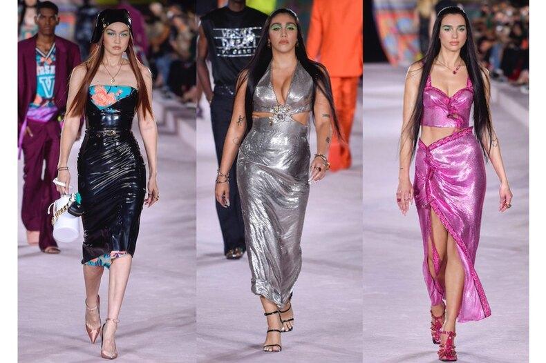 Звездный десант: Дуа Липа, Лурдес Леон, Джиджи Хадид идругие знаменитости напоказе Versace