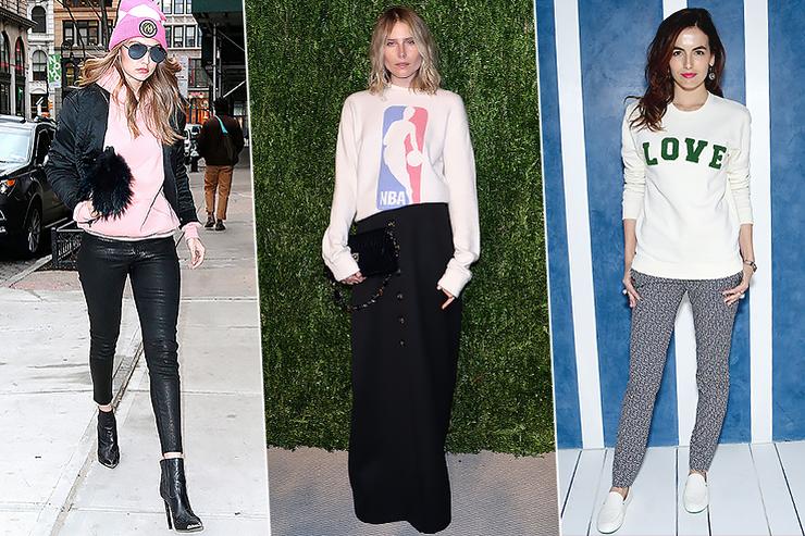 С чем носить свитшот: 5 необычных модных идей отзвёзд