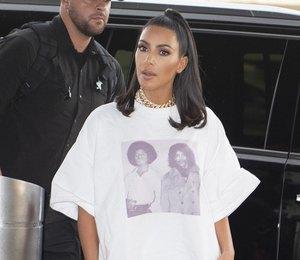 Ким Кардашьян показала, как сочетать футболку oversize ибелые велосипедки