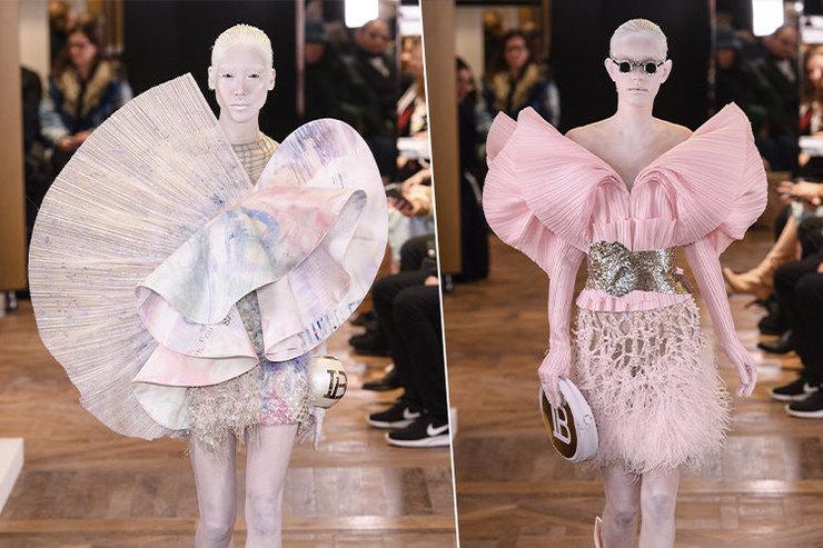 Жемчуг, плиссе ипастель: Balmain Haute Couture Spring Summer 2019