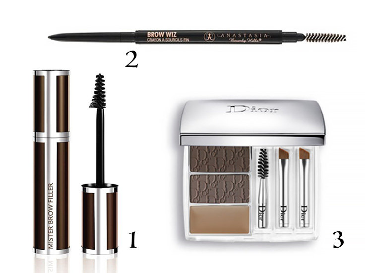 1. Моделирующее средство длябровей Givenchy Mr Brow Filler Mascara  2. Карандаш длябровей Anastasia Beverly Hills Brow Wiz  3. Набор длямакияжа бровей Dior All-in-Brow 3D