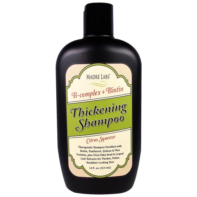 B-комплекс длягустоты волос + шампунь сбиотином, безсульфатов, ссоком цитруса, Madre Labs (цена - около 400 рублей)