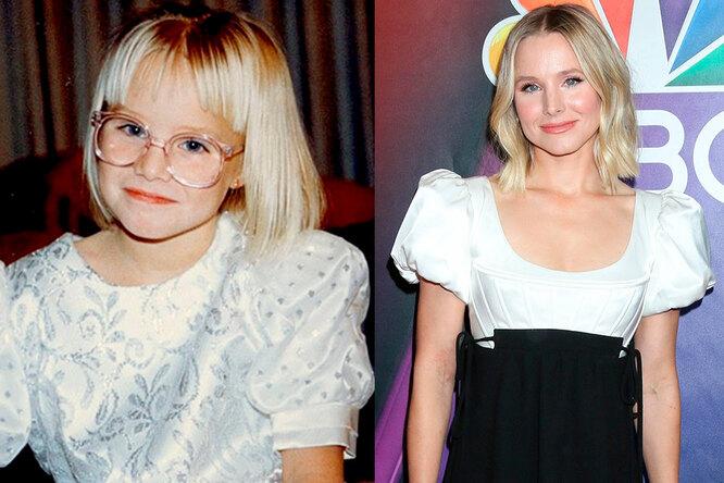 Кристен Белл в детстве и сейчас