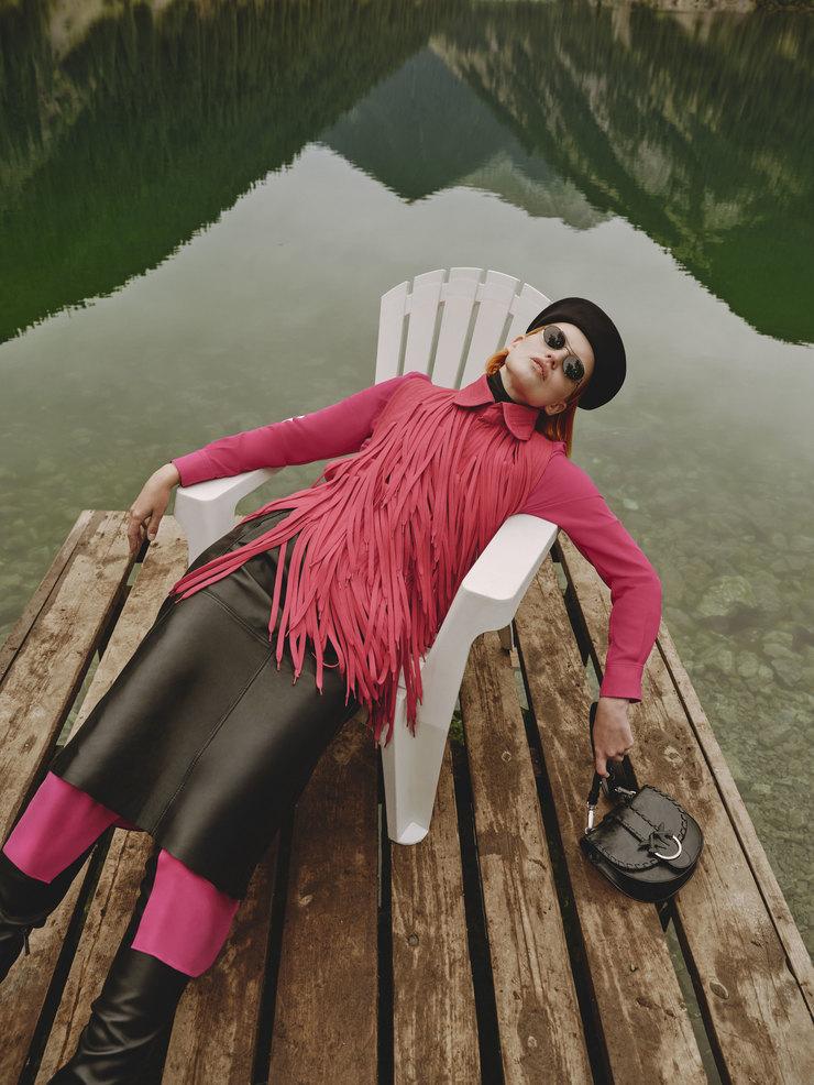 Очки Mykita + Maison Martin Margiela, платье Joseph, топ, юбка, брюки – Viva Vox, сумка Pinko