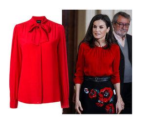 Как у королевы Летиции: 10 алых блузок от 800 рублей, которые можно носить в офис