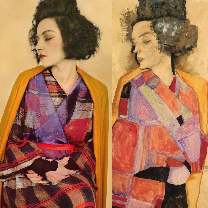 Василиса вобразе спящей Гертруды (сестры художника) скартины Эгона Шиле