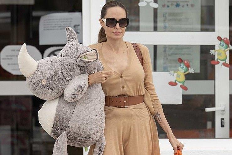 Анджелина Джоли внаряде избежевого трикотажа купила подарки детям