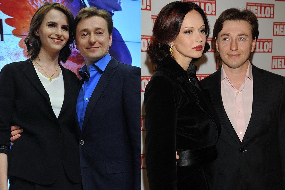 Слева: Сергей Безруков иАнна Матисон; справа: Сергей Безруков иИрина Безрукова