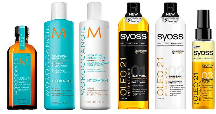 Moroccan Oil Масло длявсех типов волос Treatment Original; Moroccanoil Шампунь икондициолнер дляувлажнения волос Hydration; Syoss Набор средств дляволос Oleo Intense