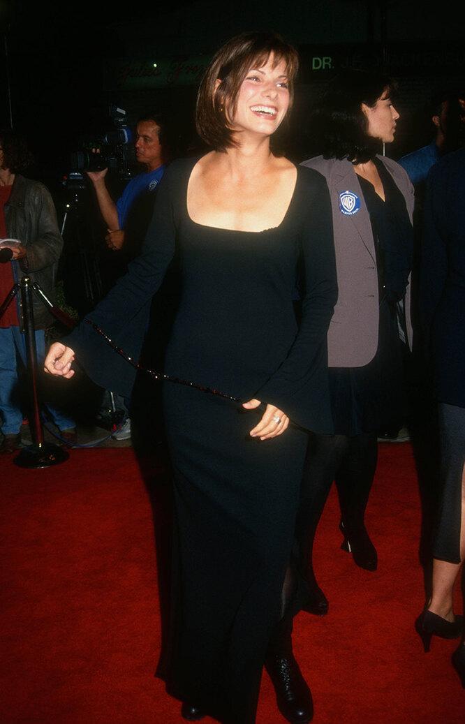 """Сандра Буллок на премьере фильма """"Разрушитель"""" в 1993 году"""