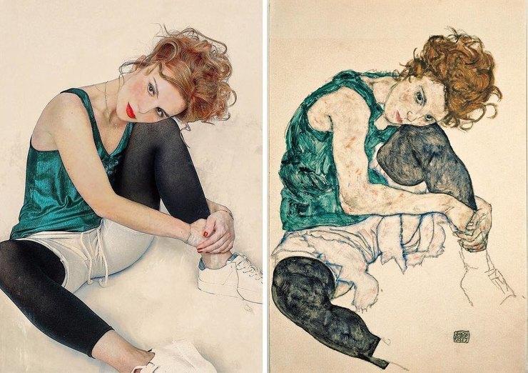 Юлия вобразе сидящей женщины ссогнутым коленом скартины Эгона Шиле