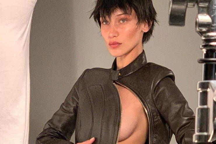 Белла Хадид кардинально сменила образ иедва неоголила грудь во время съемки