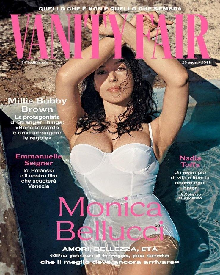 Картинки по запросу Итальянская актриса Моника Беллуччи снялась в купальнике для обложки модного глянцевого издания Vanity Fair Italia
