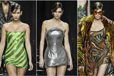 Белла Хадид, Кендалл Дженнер иКайя Гербер устроили битву головокружительных мини напоказе Versace