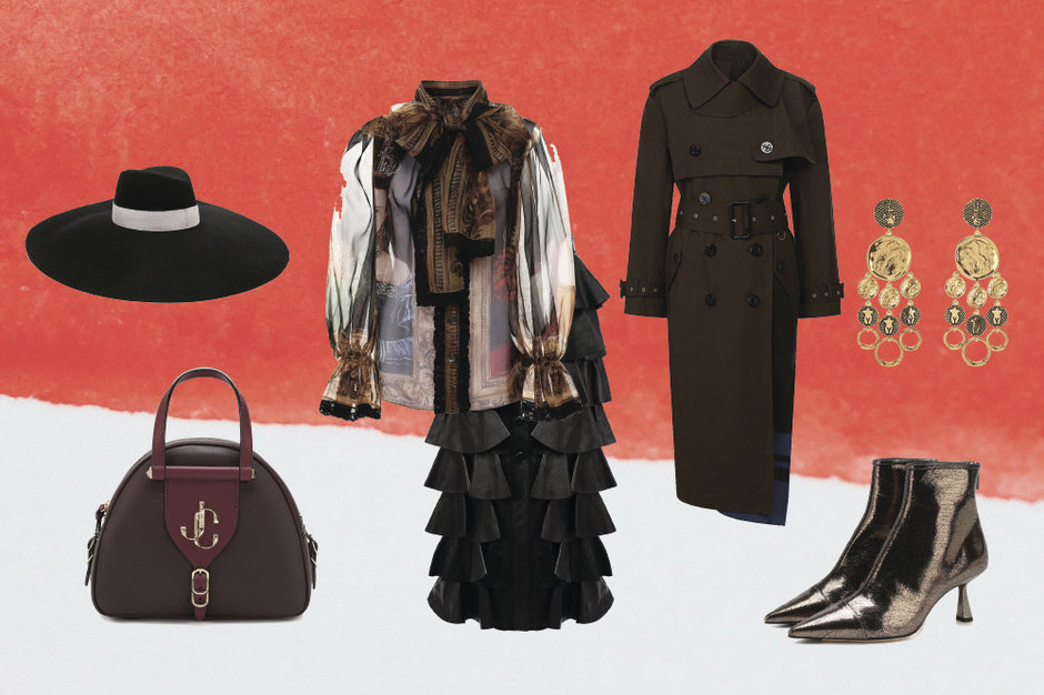 Тренч, Sacai; блуза, Docle&Gabbana; юбка, Saint Laurent; ботильоны, Jimmy Choo; сумка, Jimmy Choo; шляпа, Balmain; серьги, Сhloe