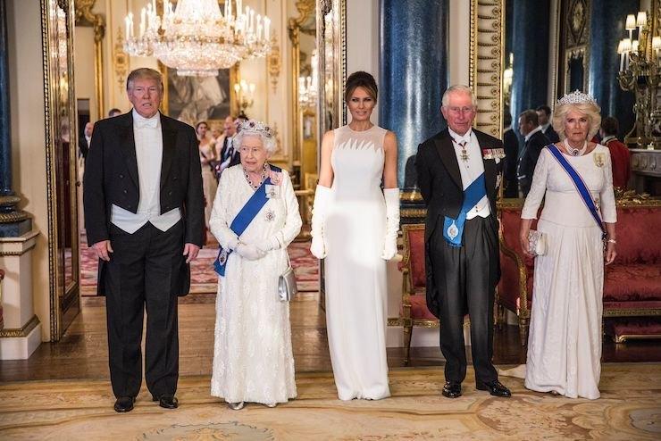 Дональд Трамп, Елизавета II, Мелания Трамп, принц Чарльз иКамилла Паркер-Боулз