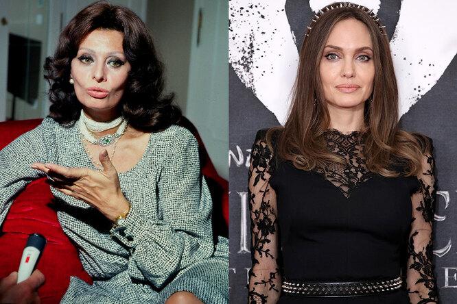 Софи Лорен, 1979 и Анджелина Джоли сейчас