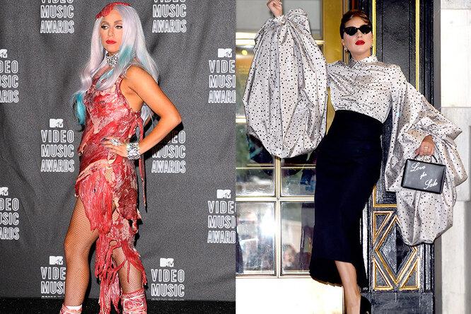 Леди Гага тогда и сейчас