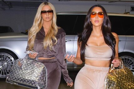 Назад внулевые: Ким Кардашьян пригласила заклятую подругу Пэрис Хилтон нафотосессию ввелюровых костюмах