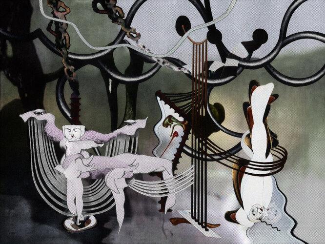 """РаботаКатиЛукиной «Выступление второе """"нить зрения""""» из серии «Концерт в клубе """"Семена""""»в галерее «Алиса»"""