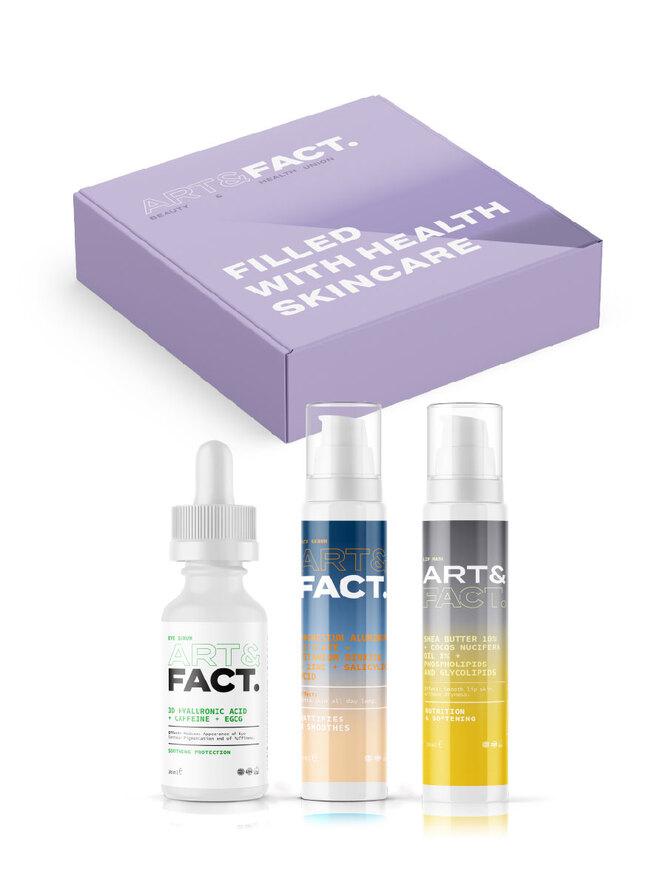 Подарочный косметический набор косметики для матирования кожи лица, ухода за областью вокруг глаз и увлажнения губ, Art&Fact
